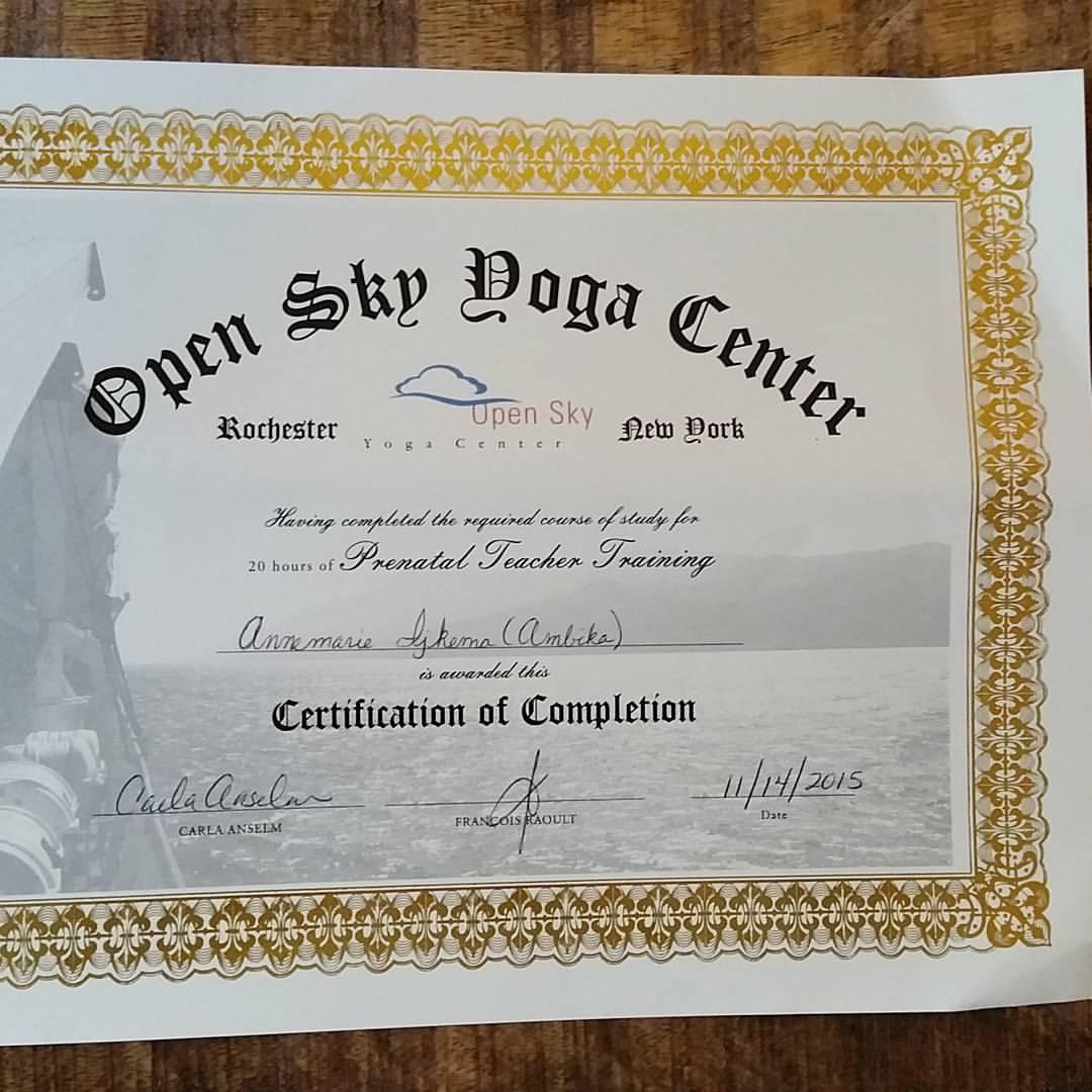 Prenatal Yoga Certificate Obtained